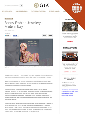 Books: Fashion Jewellery: Made in Italy Jan. 31, 2014